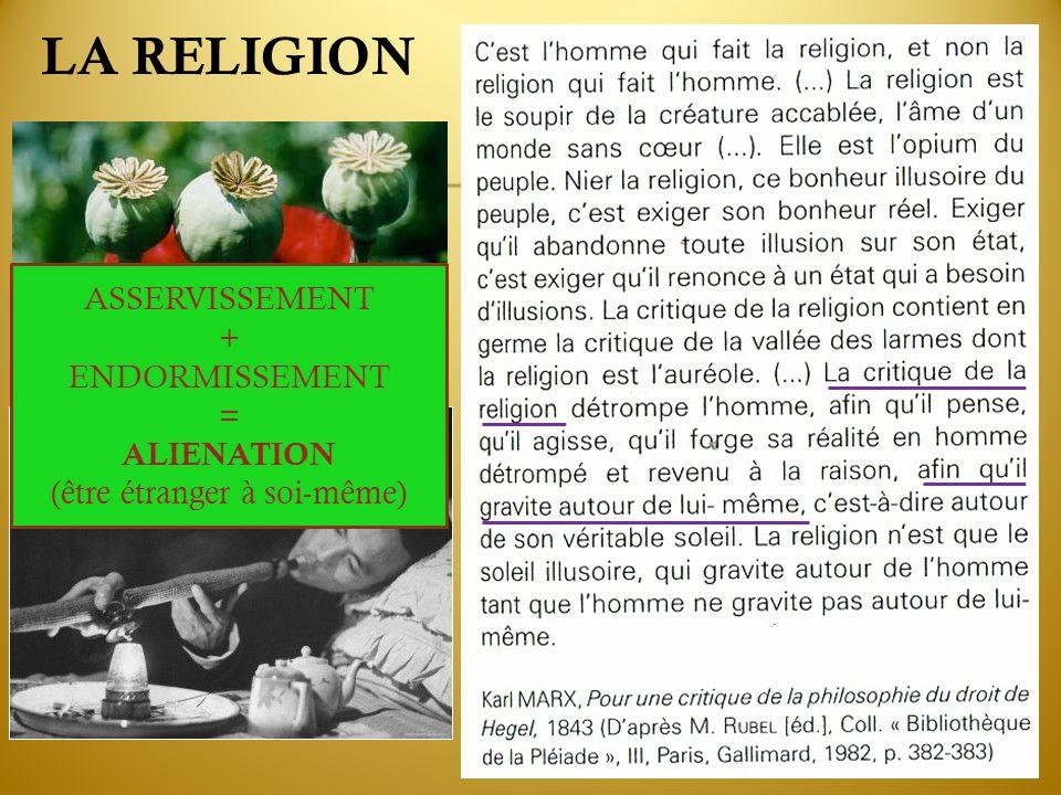 LA RELIGION ASSERVISSEMENT + ENDORMISSEMENT = ALIENATION (être étranger à soi-même)