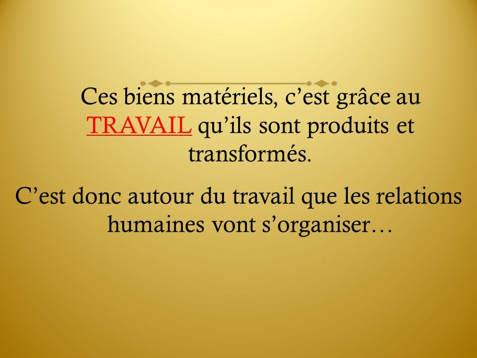 Ces biens matériels, cest grâce au TRAVAIL quils sont produits et transformés. Cest donc autour du travail que les relations humaines vont sorganiser…