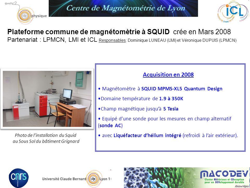 Plateforme commune de magnétomètrie à SQUID crée en Mars 2008 Partenariat : LPMCN, LMI et ICL Responsables: Dominique LUNEAU (LMI) et Véronique DUPUIS