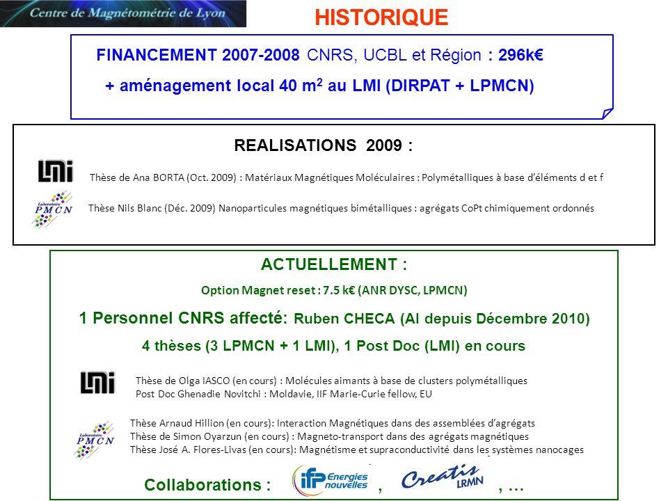 ACTUELLEMENT : Option Magnet reset : 7.5 k (ANR DYSC, LPMCN) 1 Personnel CNRS affecté: Ruben CHECA (AI depuis Décembre 2010) 4 thèses (3 LPMCN + 1 LMI