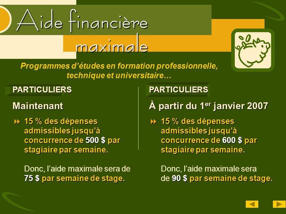Aide financière maximalePARTICULIERS À partir du 1 er janvier 2007 15 % des dépenses admissibles jusquà concurrence de 600 $ par stagiaire par semaine