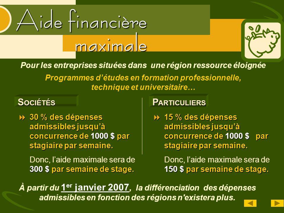 Aide financière S OCIÉTÉS 30 % des dépenses admissibles jusquà concurrence de 1000 $ par stagiaire par semaine. 30 % des dépenses admissibles jusquà c