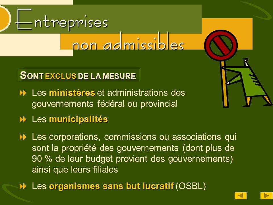 Entreprises non admissibles ministères Les ministères et administrations des gouvernements fédéral ou provincial S ONT EXCLUS DE LA MESURE municipalit