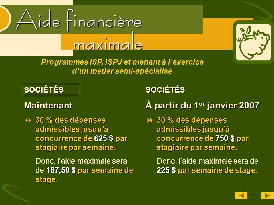 Aide financière SOCIÉTÉSMaintenant 30 % des dépenses admissibles jusquà concurrence de 625 $ par stagiaire par semaine. 30 % des dépenses admissibles