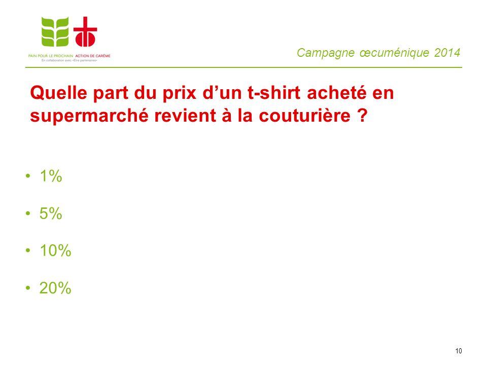 Campagne œcuménique 2014 10 1% 5% 10% 20% Quelle part du prix dun t-shirt acheté en supermarché revient à la couturière ?