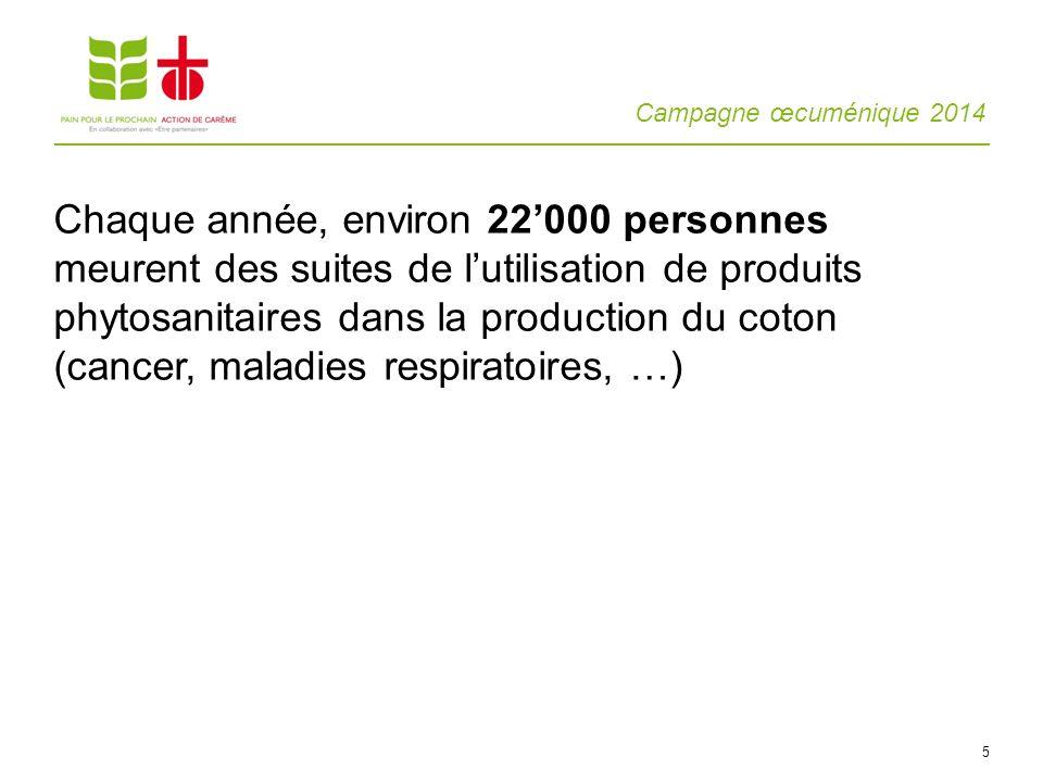 Campagne œcuménique 2014 5 Chaque année, environ 22000 personnes meurent des suites de lutilisation de produits phytosanitaires dans la production du coton (cancer, maladies respiratoires, …)
