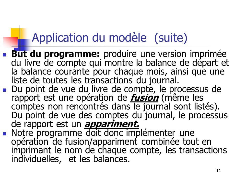 11 Application du modèle (suite) But du programme: produire une version imprimée du livre de compte qui montre la balance de départ et la balance cour