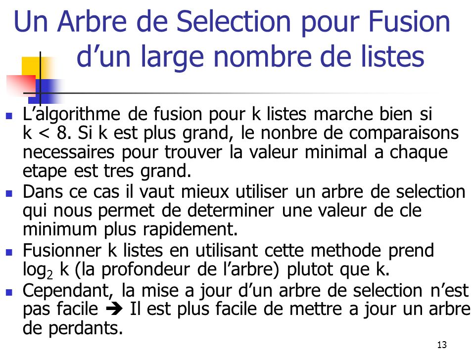 13 Un Arbre de Selection pour Fusion dun large nombre de listes Lalgorithme de fusion pour k listes marche bien si k < 8. Si k est plus grand, le nonb