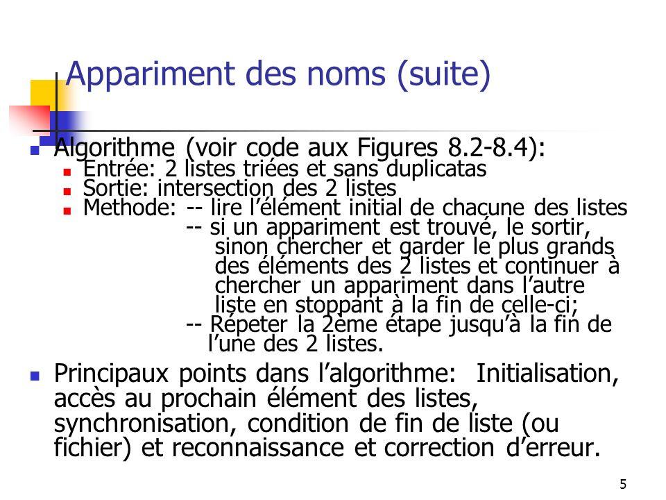 5 Appariment des noms (suite) Algorithme (voir code aux Figures 8.2-8.4): Entrée: 2 listes triées et sans duplicatas Sortie: intersection des 2 listes