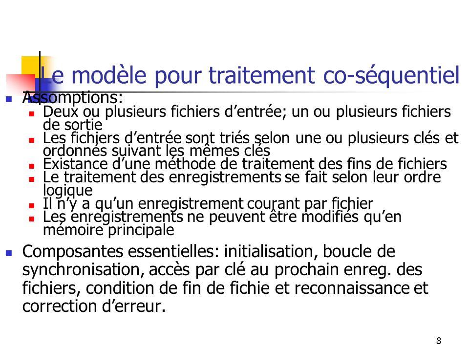 8 Le modèle pour traitement co-séquentiel Assomptions: Deux ou plusieurs fichiers dentrée; un ou plusieurs fichiers de sortie Les fichiers dentrée son