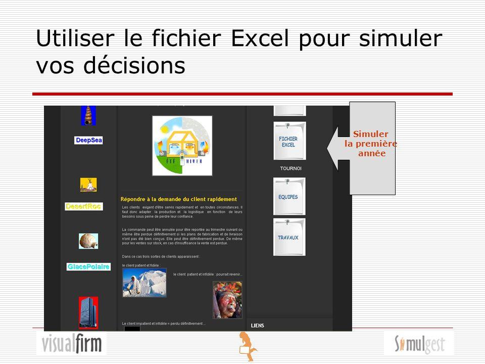 Utiliser le fichier Excel pour simuler vos décisions Simuler la première année