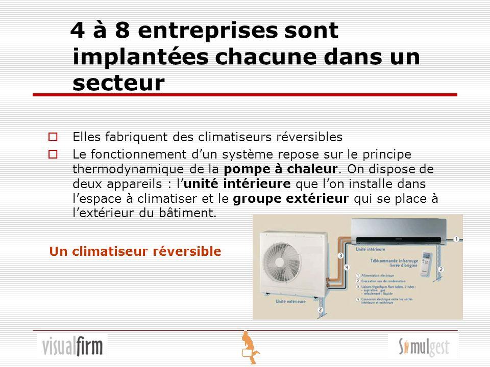 4 à 8 entreprises sont implantées chacune dans un secteur Elles fabriquent des climatiseurs réversibles Le fonctionnement dun système repose sur le principe thermodynamique de la pompe à chaleur.