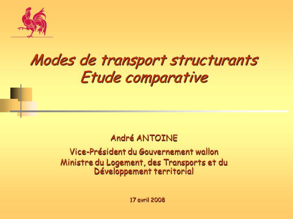 André ANTOINE Vice-Président du Gouvernement wallon Ministre du Logement, des Transports et du Développement territorial Modes de transport structuran