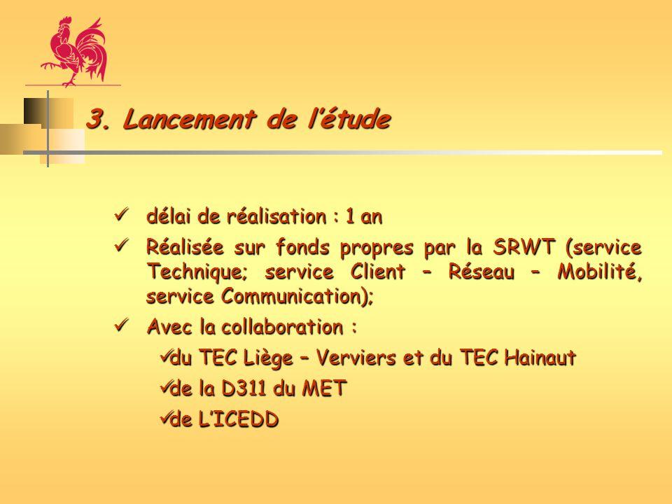 3. Lancement de létude délai de réalisation : 1 an délai de réalisation : 1 an Réalisée sur fonds propres par la SRWT (service Technique; service Clie