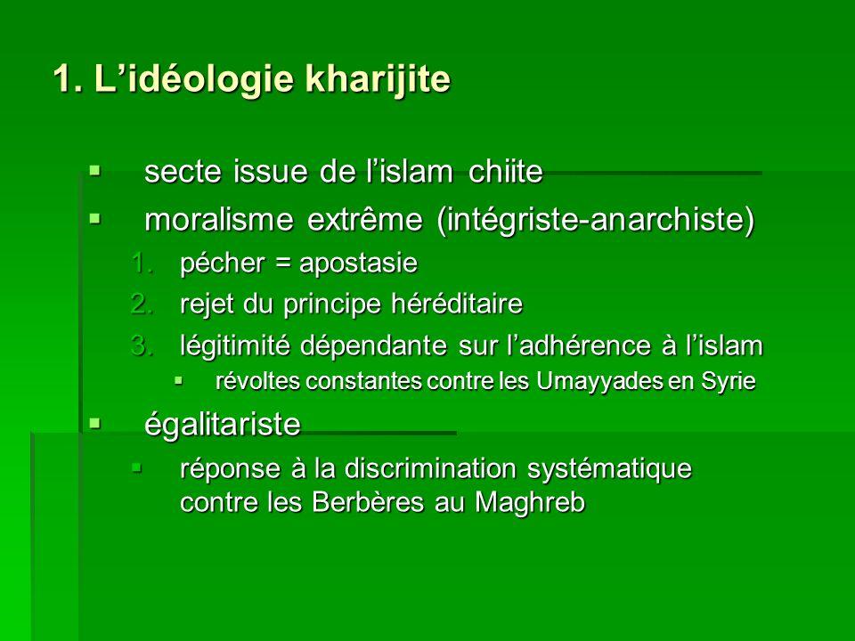 1. Lidéologie kharijite secte issue de lislam chiite secte issue de lislam chiite moralisme extrême (intégriste-anarchiste) moralisme extrême (intégri