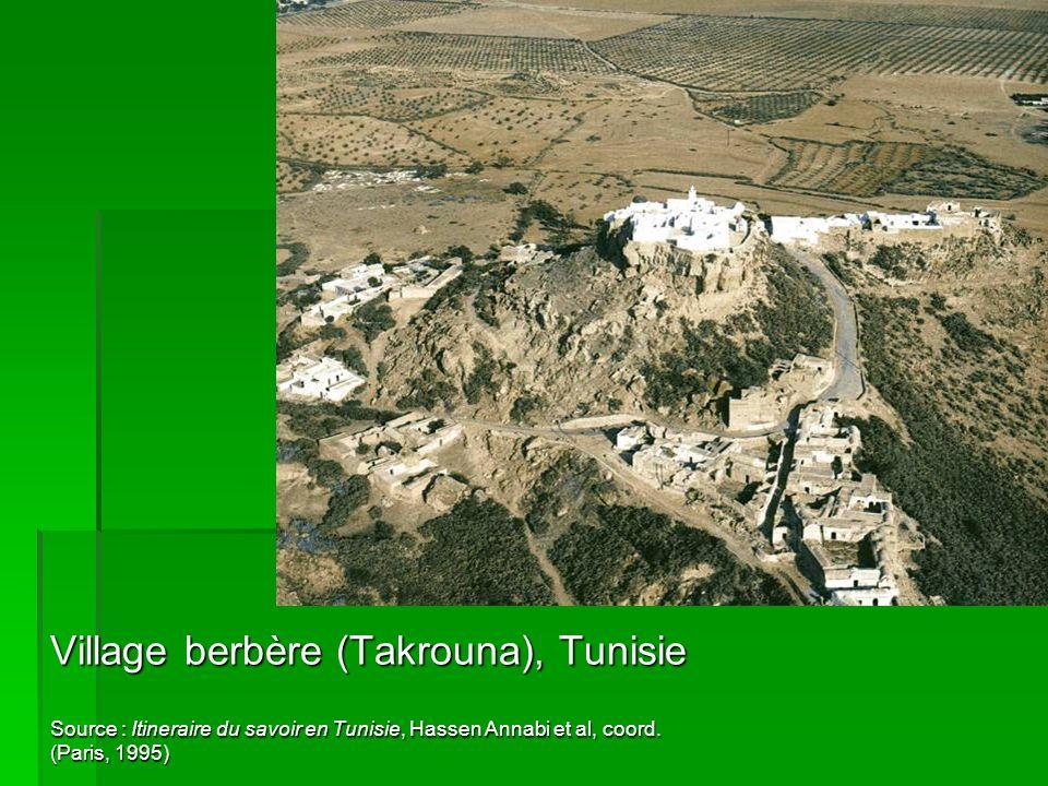 Village berbère (Takrouna), Tunisie Source : Itineraire du savoir en Tunisie, Hassen Annabi et al, coord. (Paris, 1995)
