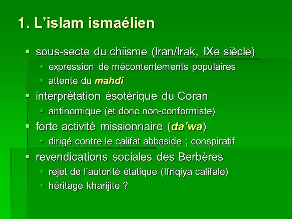1. Lislam ismaélien sous-secte du chiisme (Iran/Irak, IXe siècle) sous-secte du chiisme (Iran/Irak, IXe siècle) expression de mécontentements populair