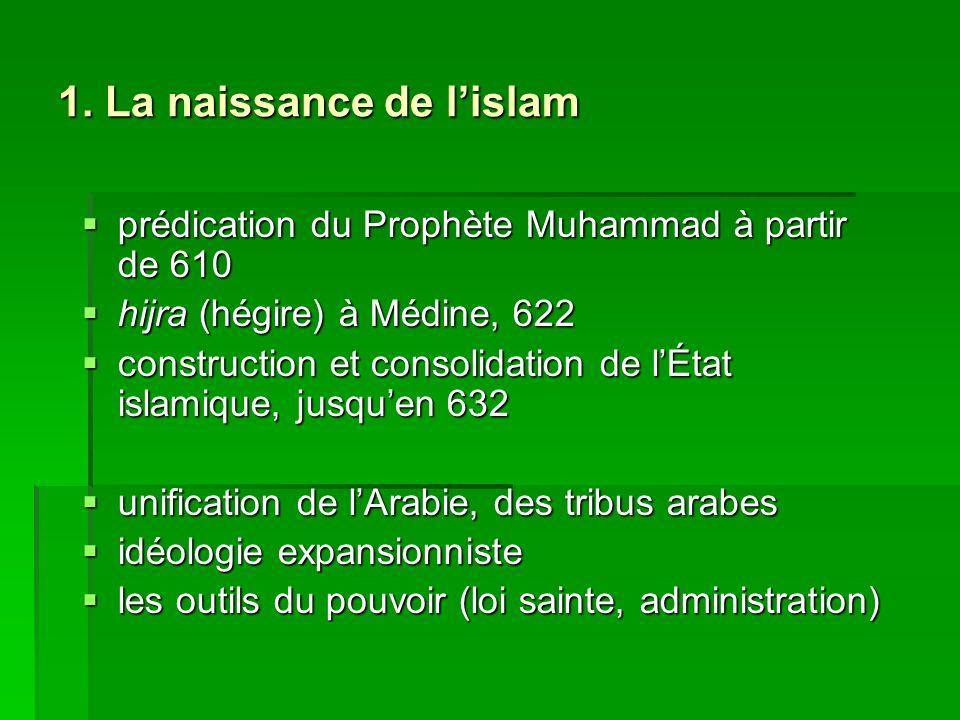 1. La naissance de lislam prédication du Prophète Muhammad à partir de 610 prédication du Prophète Muhammad à partir de 610 hijra (hégire) à Médine, 6