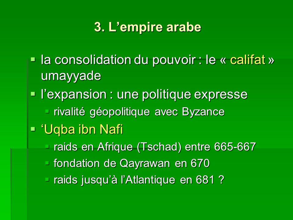 3. Lempire arabe la consolidation du pouvoir : le « califat » umayyade la consolidation du pouvoir : le « califat » umayyade lexpansion : une politiqu
