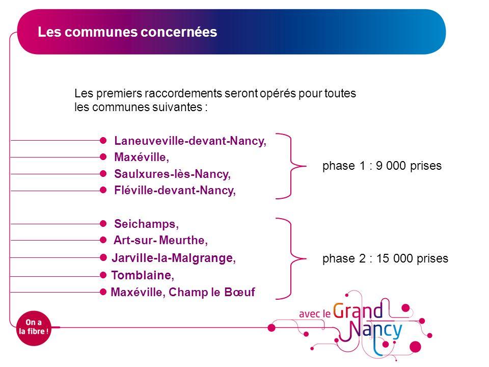 Les premiers raccordements seront opérés pour toutes les communes suivantes : Laneuveville-devant-Nancy, Maxéville, Saulxures-lès-Nancy, Fléville-deva