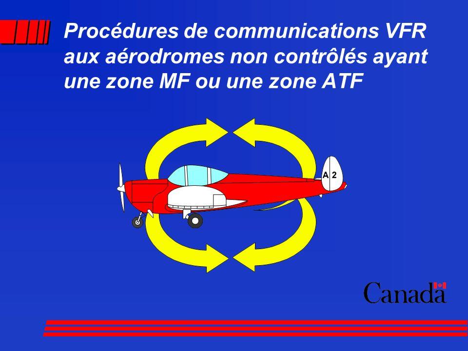 Procédures de communications VFR aux aérodromes non contrôlés ayant une zone MF ou une zone ATF