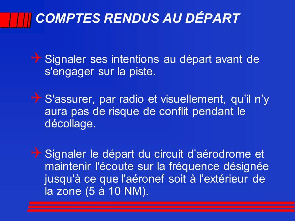 COMPTES RENDUS AU DÉPART Signaler ses intentions au départ avant de s'engager sur la piste. S'assurer, par radio et visuellement, quil ny aura pas de