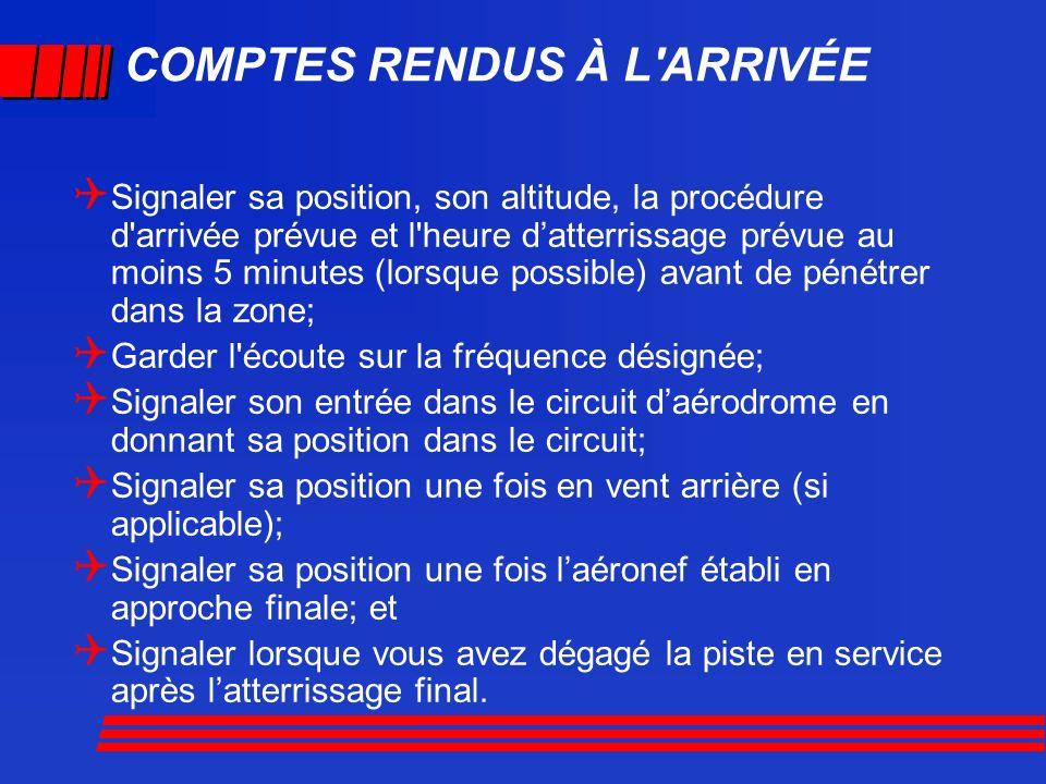 COMPTES RENDUS À L'ARRIVÉE Signaler sa position, son altitude, la procédure d'arrivée prévue et l'heure datterrissage prévue au moins 5 minutes (lorsq
