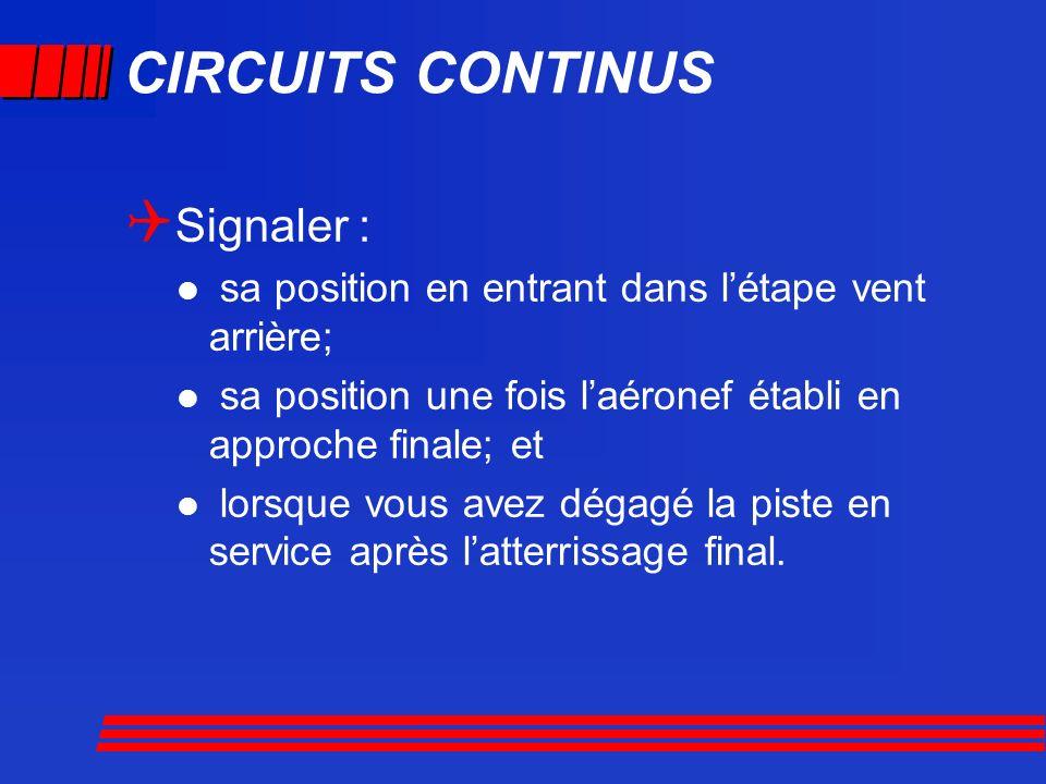 CIRCUITS CONTINUS Signaler : sa position en entrant dans létape vent arrière; sa position une fois laéronef établi en approche finale; et lorsque vous