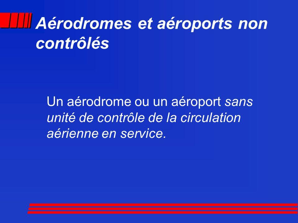 Un aérodrome ou un aéroport sans unité de contrôle de la circulation aérienne en service. Aérodromes et aéroports non contrôlés