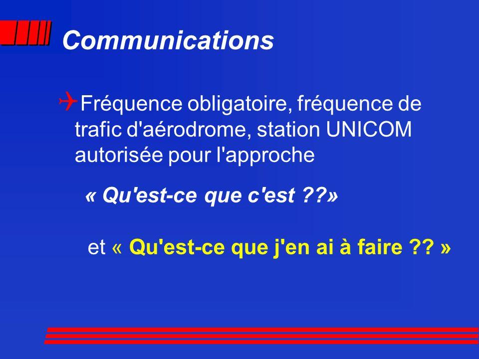 Communications Fréquence obligatoire, fréquence de trafic d'aérodrome, station UNICOM autorisée pour l'approche « Qu'est-ce que c'est ??» et « Qu'est-
