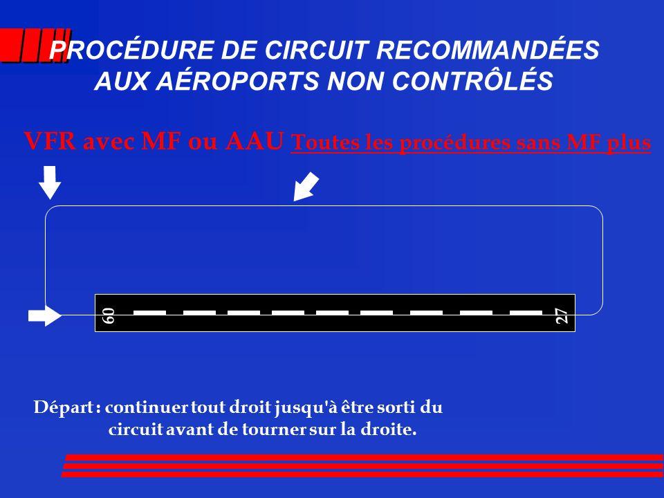 PROCÉDURE DE CIRCUIT RECOMMANDÉES AUX AÉRODROMES NON CONTRÔLÉS Est-il permis de joindre le circuit par le vent arrière.