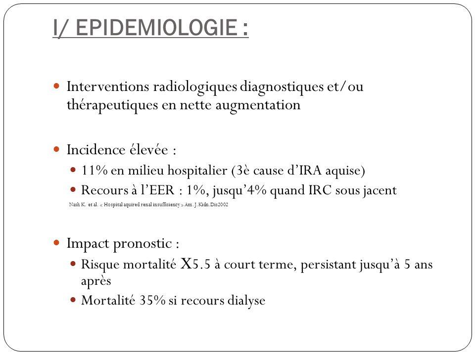 I/ EPIDEMIOLOGIE : Interventions radiologiques diagnostiques et/ou thérapeutiques en nette augmentation Incidence élevée : 11% en milieu hospitalier (
