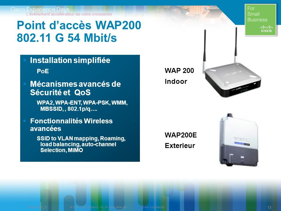 © 2009 Cisco Systems, Inc. All rights reserved.Cisco ConfidentialPresentation_ID 13 Point daccès WAP200 802.11 G 54 Mbit/s Installation simplifiée PoE