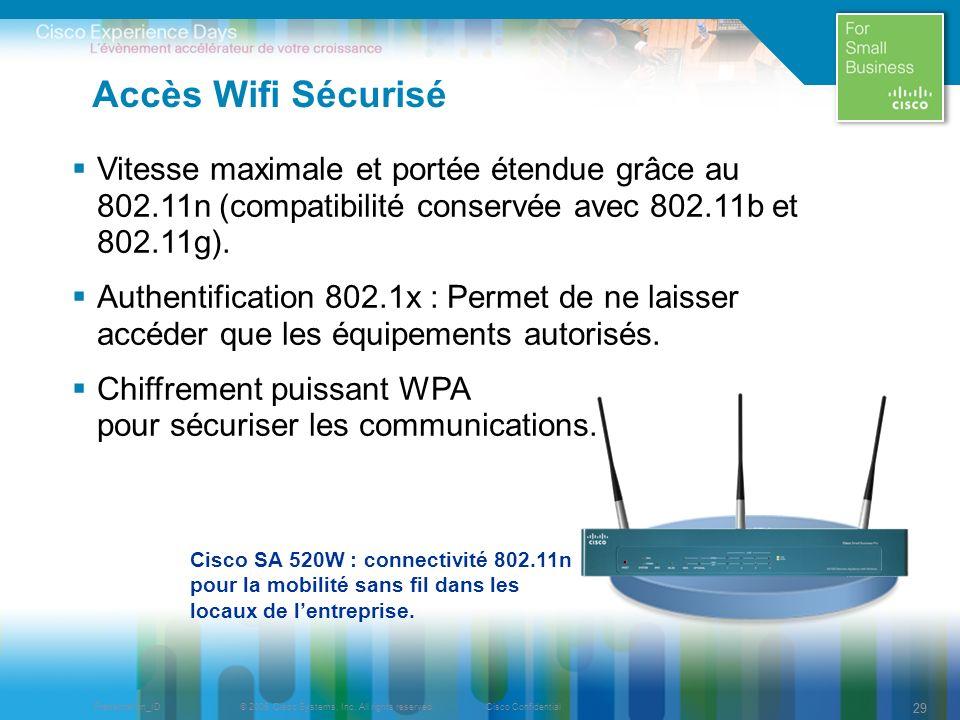 © 2009 Cisco Systems, Inc. All rights reserved.Cisco ConfidentialPresentation_ID 29 Accès Wifi Sécurisé Vitesse maximale et portée étendue grâce au 80