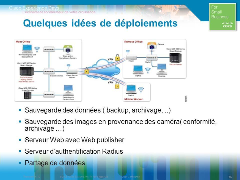 © 2009 Cisco Systems, Inc. All rights reserved.Cisco ConfidentialPresentation_ID 36 Quelques idées de déploiements Sauvegarde des données ( backup, ar
