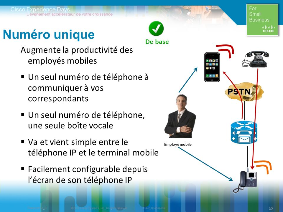 © 2009 Cisco Systems, Inc. All rights reserved.Cisco ConfidentialPresentation_ID 52 Augmente la productivité des employés mobiles Un seul numéro de té