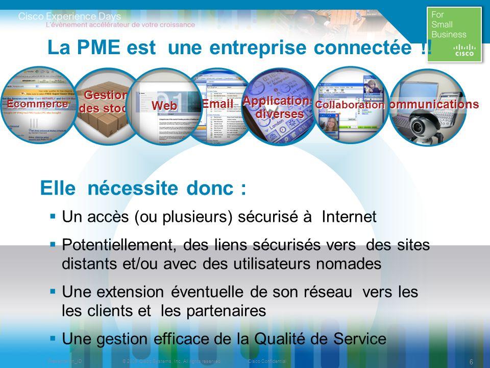 © 2009 Cisco Systems, Inc. All rights reserved.Cisco ConfidentialPresentation_ID 66 La PME est une entreprise connectée !! Un accès (ou plusieurs) séc