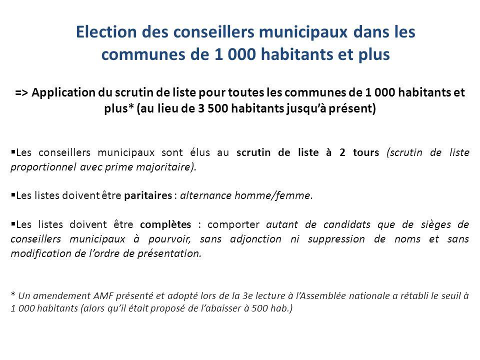 => Application du scrutin de liste pour toutes les communes de 1 000 habitants et plus* (au lieu de 3 500 habitants jusquà présent) Les conseillers mu
