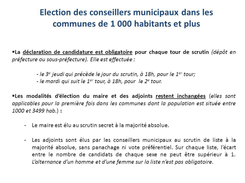 La déclaration de candidature est obligatoire pour chaque tour de scrutin (dépôt en préfecture ou sous-préfecture). Elle est effectuée : - le 3 e jeud