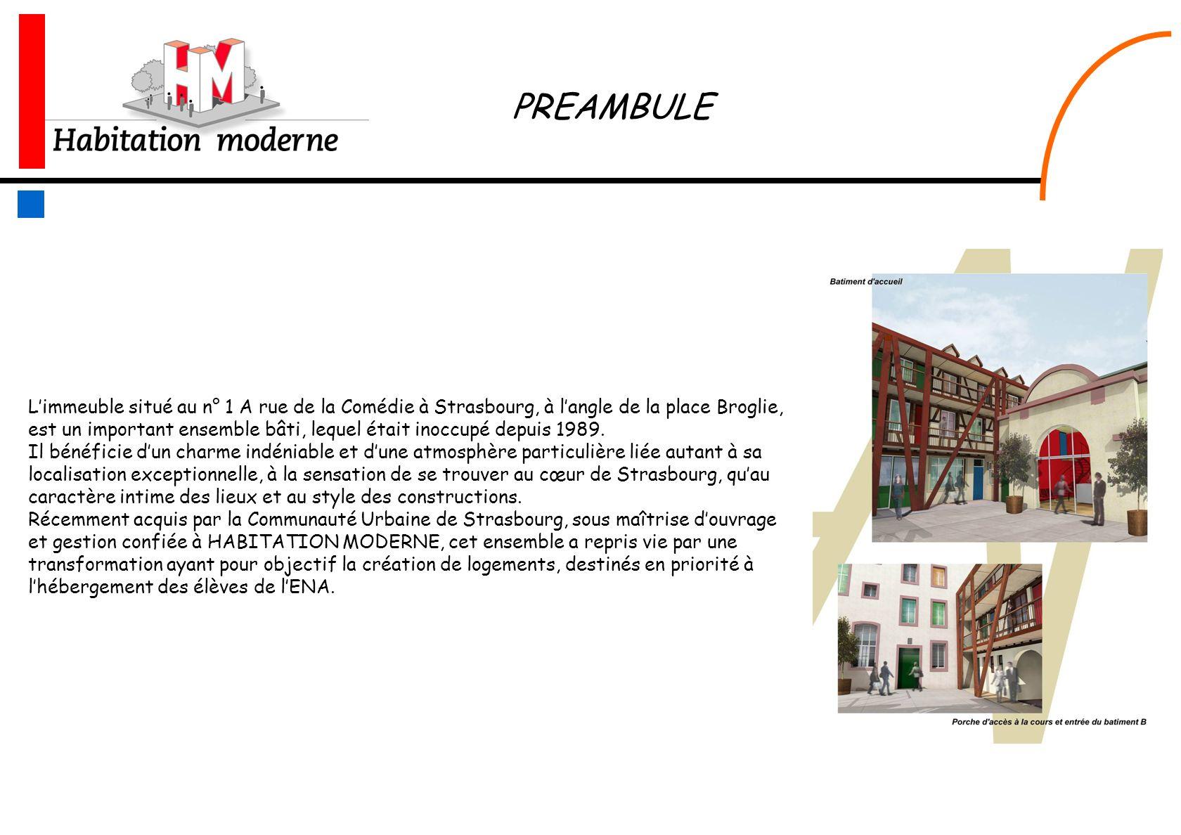 Limmeuble situé au n° 1 A rue de la Comédie à Strasbourg, à langle de la place Broglie, est un important ensemble bâti, lequel était inoccupé depuis 1