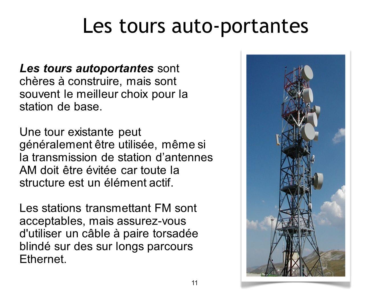11 Les tours autoportantes sont chères à construire, mais sont souvent le meilleur choix pour la station de base.