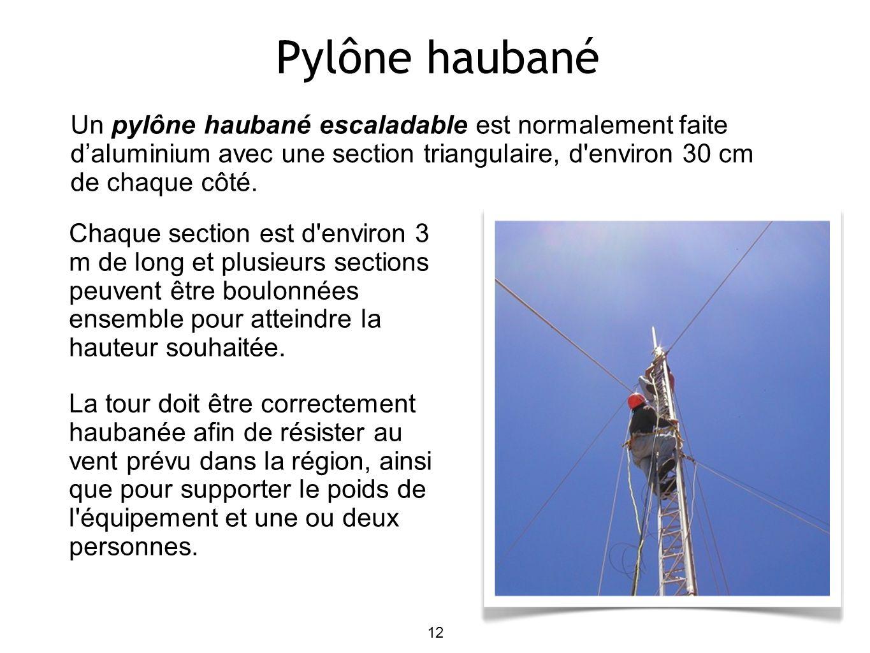 12 Pylône haubané Un pylône haubané escaladable est normalement faite daluminium avec une section triangulaire, d environ 30 cm de chaque côté.
