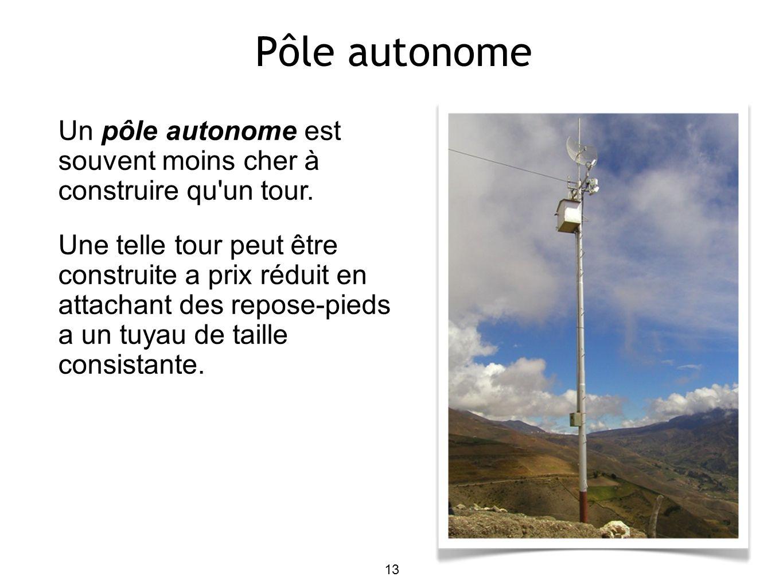 13 Pôle autonome Un pôle autonome est souvent moins cher à construire qu un tour.