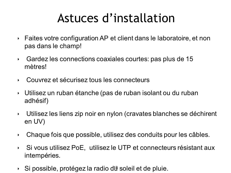 18 Astuces dinstallation Faites votre configuration AP et client dans le laboratoire, et non pas dans le champ.