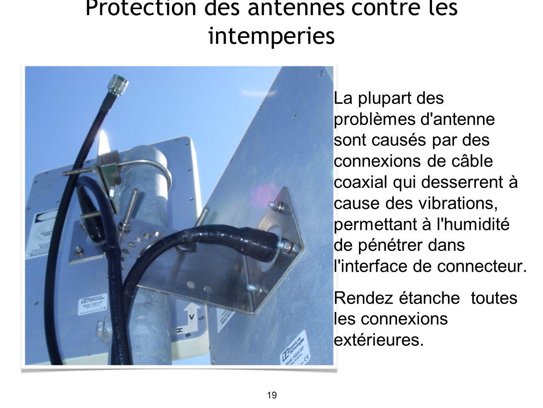 19 Protection des antennes contre les intemperies La plupart des problèmes d antenne sont causés par des connexions de câble coaxial qui desserrent à cause des vibrations, permettant à l humidité de pénétrer dans l interface de connecteur.