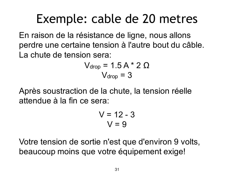 Exemple: cable de 20 metres En raison de la résistance de ligne, nous allons perdre une certaine tension à l autre bout du câble.