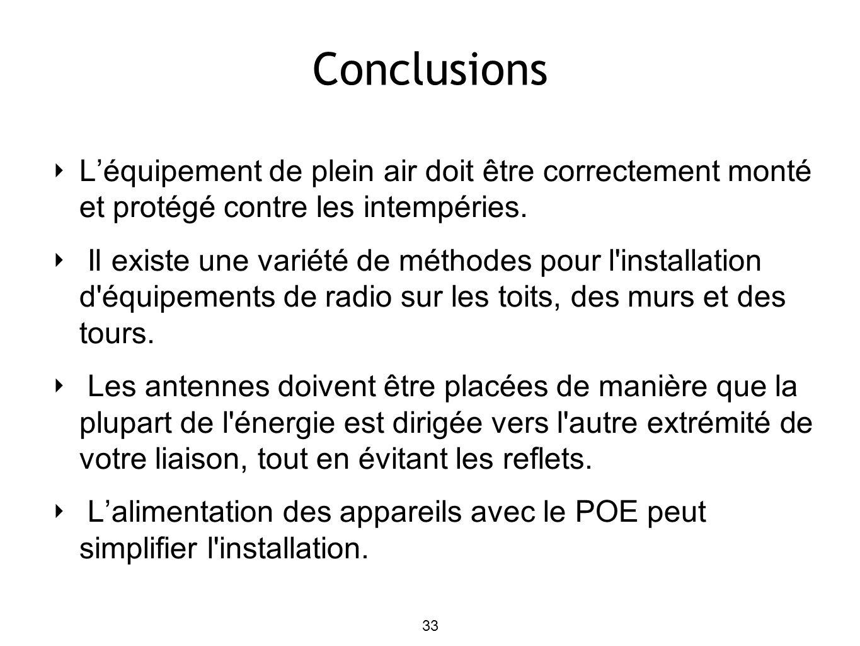 Conclusions Léquipement de plein air doit être correctement monté et protégé contre les intempéries.