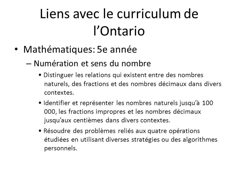 Liens avec le curriculum de lOntario Mathématiques: 5e année – Numération et sens du nombre Distinguer les relations qui existent entre des nombres naturels, des fractions et des nombres décimaux dans divers contextes.