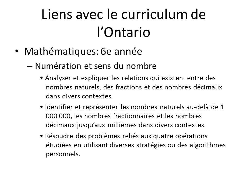 Liens avec le curriculum de lOntario Mathématiques: 6e année – Numération et sens du nombre Analyser et expliquer les relations qui existent entre des nombres naturels, des fractions et des nombres décimaux dans divers contextes.