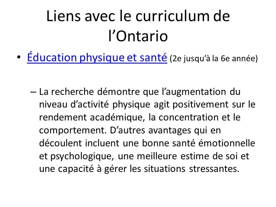 Liens avec le curriculum de lOntario Éducation physique et santé (2e jusquà la 6e année) Éducation physique et santé – La recherche démontre que laugm